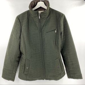 St John's Bay quilted dark olive green jacket